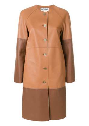 Loewe two-tone buttoned coat - Brown