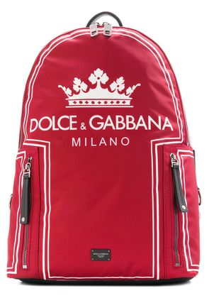 Dolce & Gabbana Crown logo print backpack - Red