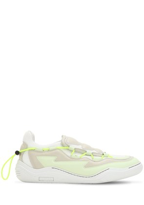 MESH & NAPPA LEATHER SLIP-ON SNEAKERS