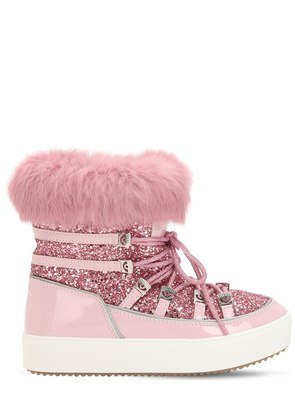30MM GLITTERED SNOW BOOTS W/ LAPIN FUR