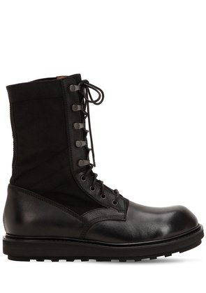 LEATHER & CANVAS TALL BOOTS