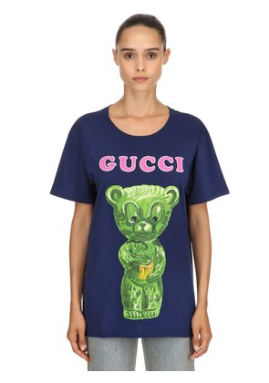 TEDDY BEAR PRINTED COTTON JERSEY T-SHIRT
