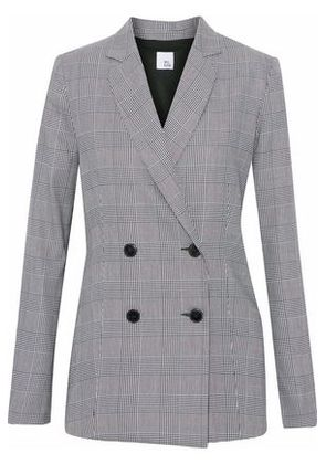 Iris & Ink Woman Goldie Double-breasted Prince Of Wales Checked Woven Blazer Gray Size 4