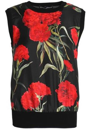 Dolce & Gabbana Woman Floral-print Faille-paneled Silk Top Red Size 40