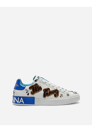 Dolce & Gabbana Sneakers and Slip-On - PRINTED CALFSKIN PORTOFINO SNEAKERS WITH PATCH WHITE