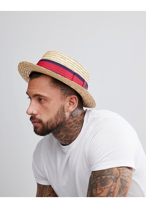 ASOS Straw Boater In Natural With Band Detail - Beige