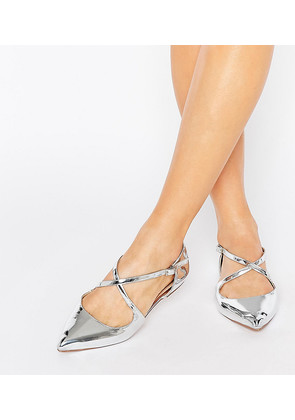ASOS LIVE FOR THE MOMENT Wide Fit Ballet Flats - Silver