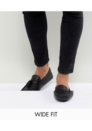 ASOS DESIGN Driving Shoes In Black Leather With Tassels - Black