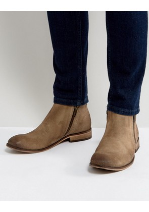 ASOS Chelsea Boots In Stone Suede With Double Zip - Stone