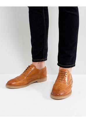 ASOS Brogue Shoes In Tan Leather - Tan