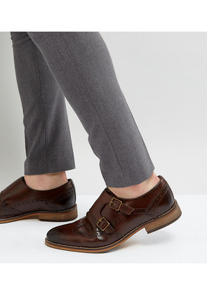 ASOS Wide Fit Monk Shoes In Brown Leather With Brogue Detail - Brown