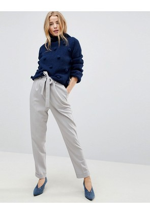 ASOS Woven Peg Trousers with OBI Tie - Soft grey