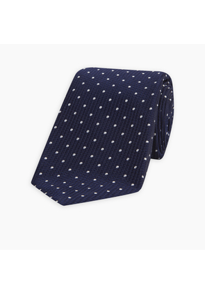 Seven-Fold Navy and White Spot Lace Silk Tie