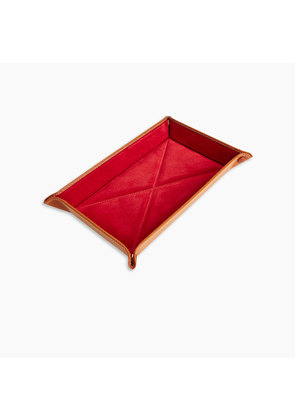 Light Brown and Red Rectangular Leather Travel Tray