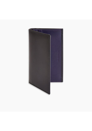 Purple Leather Card Case with Navy Leather Interior