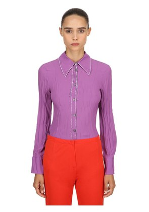 SILK BLEND CREPE SHIRT W/ THREAD DETAILS