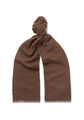 Anderson & Sheppard - Pinhead Cashmere And Wool-blend Scarf - Brown