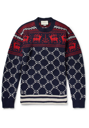 Gucci - Fair Isle Jacquard-knit Wool Sweater - Storm blue