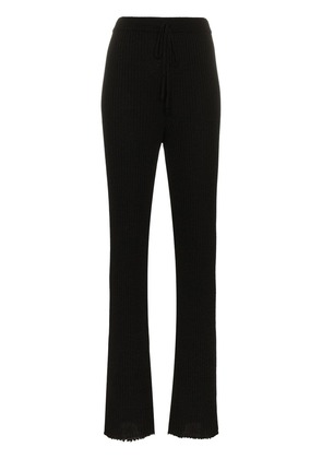 Marques'almeida drawstring flared high waisted wool trousers - Black