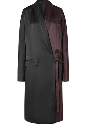 Haider Ackermann - Two-tone Satin-crepe Wrap Dress - Black