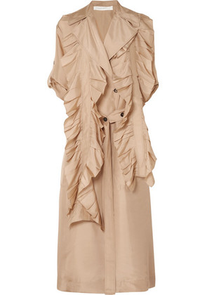 Victoria Beckham - Ruffled Silk Trench Coat - Beige