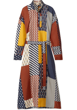 Tory Burch - Bianca Patchwork Printed Silk-twill Midi Dress - Navy