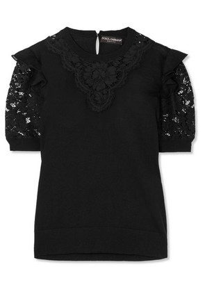 Dolce & Gabbana - Ruffled Georgette-trimmed Lace And Wool-blend Top - Black