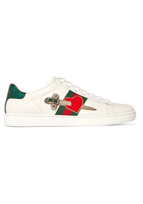 Gucci - Appliquéd Embellished Leather Sneakers - White