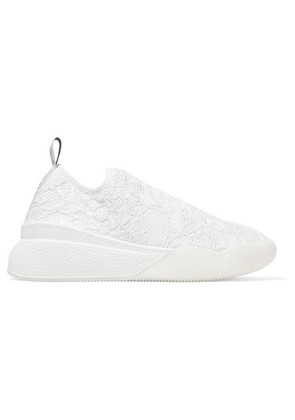 Stella McCartney - Loop Logo-woven Corded Lace Slip-on Sneakers - White