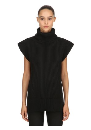 WOOL & CASHMERE BLEND SLEEVELESS SWEATER