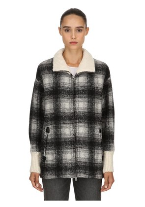 GIMO WOOL BLEND PLAID JACKET