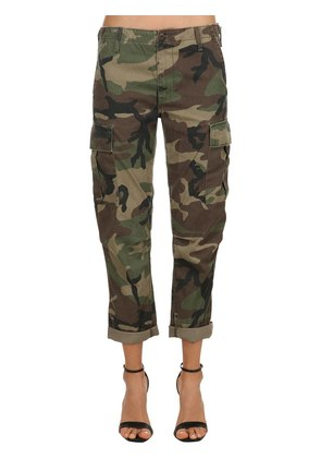 CAMOUFLAGE PRINTED COTTON CARGO PANTS
