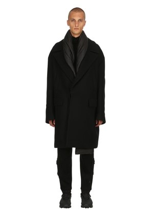 OVERSIZED WOOL COAT W/ PADDED SCARF