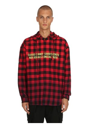 DETACHABLE HOODED CHECKED COTTON SHIRT