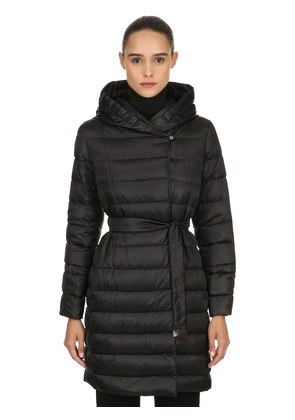 HOODED SHINY NYLON DOWN COAT