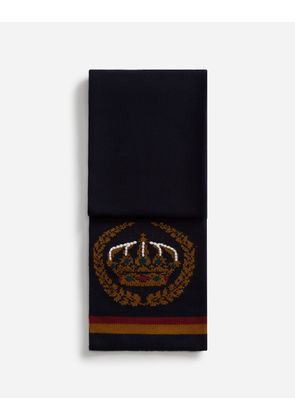 Dolce & Gabbana Scarves and Silks - SCARF IN INLAID CASHMERE AND WOOL WITH EMBROIDERY BLUE