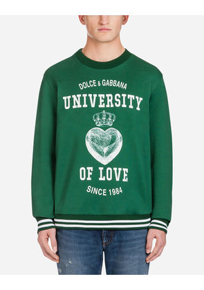 Dolce & Gabbana Sweaters - PRINTED COTTON SWEATSHIRT GREEN