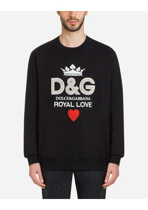Dolce & Gabbana Sweaters - COTTON SWEATSHIRT WITH D & G PRINT AND CRYSTALS BLACK