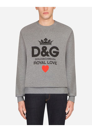Dolce & Gabbana Sweaters - COTTON SWEATSHIRT WITH D & G PRINT GRAY