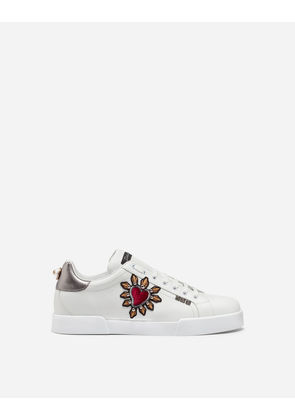 Dolce & Gabbana Sneakers and Slip-On - CALFSKIN NAPPA PORTOFINO SNEAKERS WITH PATCH WHITE