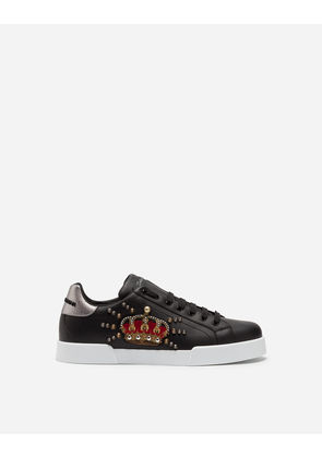 Dolce & Gabbana Sneakers and Slip-On - CALFSKIN PORTOFINO SNEAKERS WITH PATCH BLACK