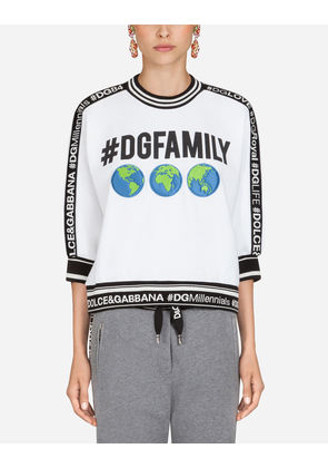 Dolce & Gabbana T-Shirts and Sweatshirts - SWEATSHIRT IN #DGFAMILY PRINTED COTTON AND PATCH WHITE