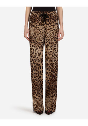 Dolce & Gabbana Trousers and Leggings - PRINTED CADY PANTS LEOPARD PRINT