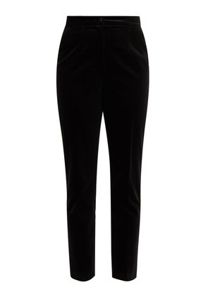 High-rise cropped velvet trousers
