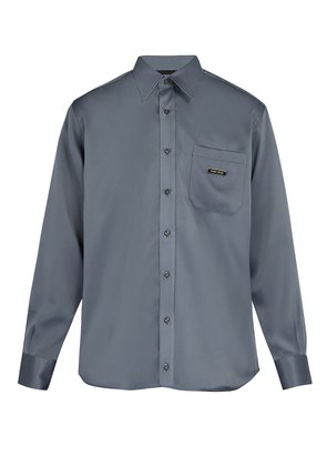 One-pocket point-collar crepe shirt