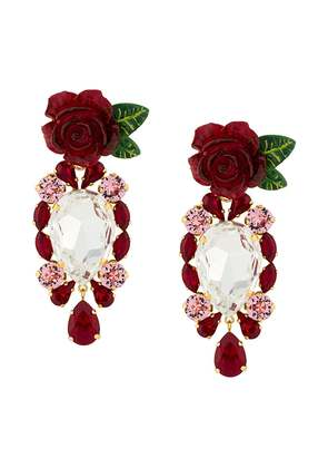 Dolce & Gabbana rose and crystal drop earrings - Red