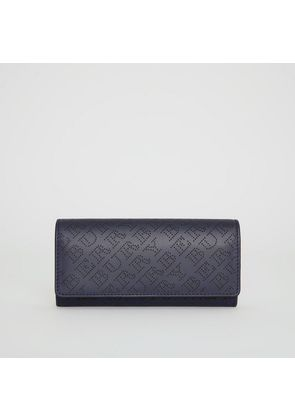 Burberry Perforated Logo Leather Continental Wallet, Blue