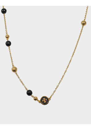 Tory Burch Raised Logo Rosary Necklace in Black Tory Gold Brass and Enamel