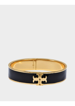 Tory Burch Raised Logo Thin Enamel Hinged Bracelet in Black Tory Gold Brass and Enamel