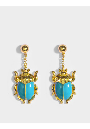 Aurelie Bidermann Elvira Scarab Earrings in Green and Blue Enamel and 18K Gold-Plated Brass